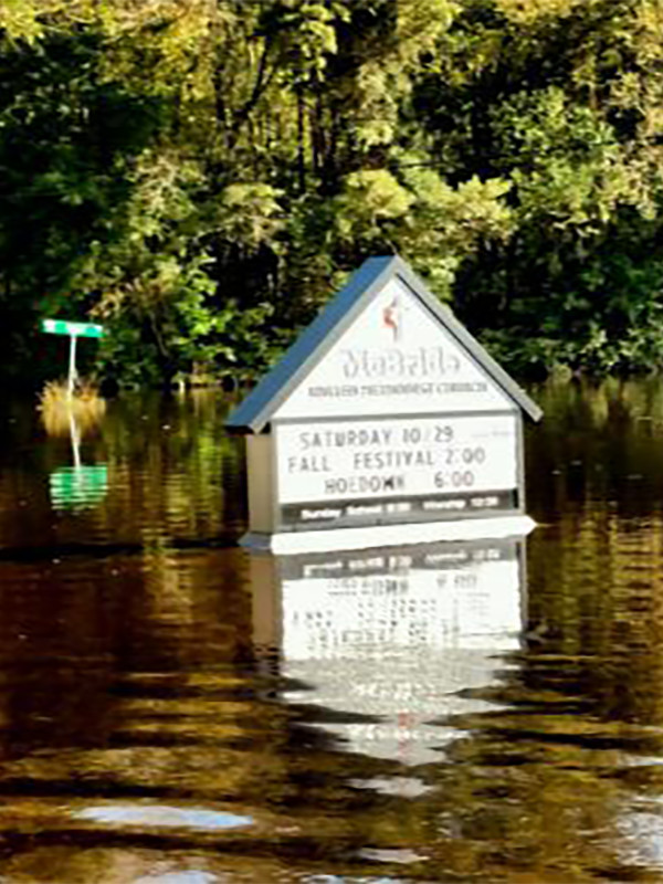 McBride United Methodist Church in South Mills, NC, experienced severe flooding in the aftermath of Hurricane Matthew in October, 2016.